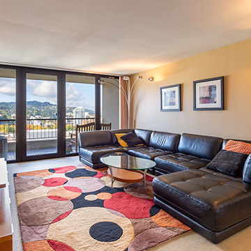 Real estate photography - still photo of penthouse condo living room interior